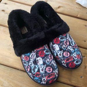 Skechers Bobs Pooch Dog Woof Plush Memory Foam Slippers Black Pups 7 Shoes